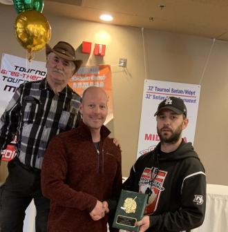 Todd Kennedy, coach of the year 2019, with Marcel LeBlanc & Roger Hickey
