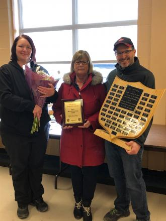 Ceilish Sharpe & Rene Hache with 2020 Mrs. Minor Hockey recipient Betty Anne Pitre